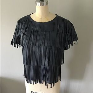 Forever 21 NWT Faux Leather Fringe Top Navy